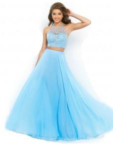 dvoudílné světle modré plesové šaty Katharine XS