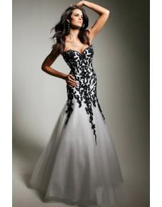uplé bílé plesové šaty s černou krajkou Andy S-M
